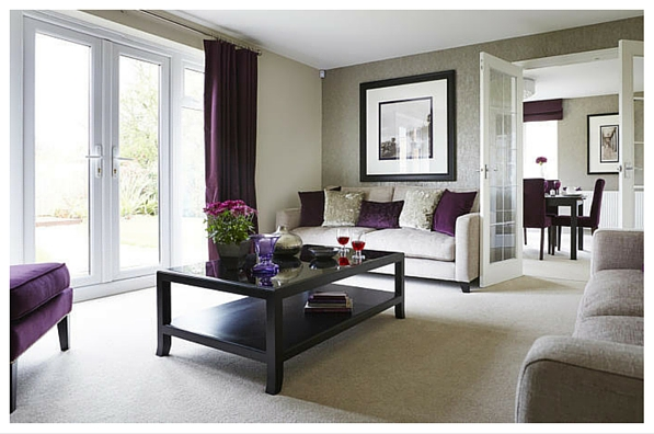 Purple and cream living room home design for Purple and cream living room ideas