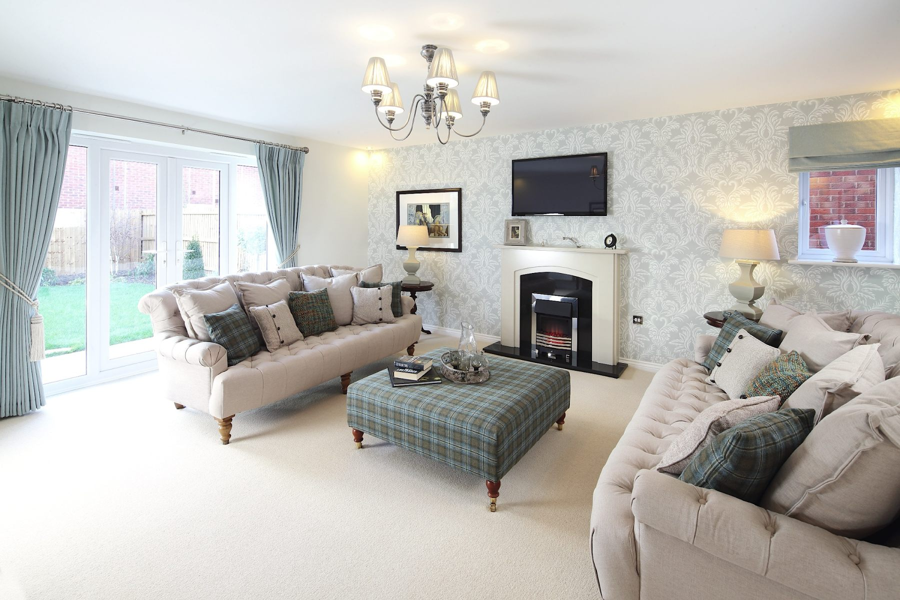 New homes in wem taylor wimpey for Show home living room ideas