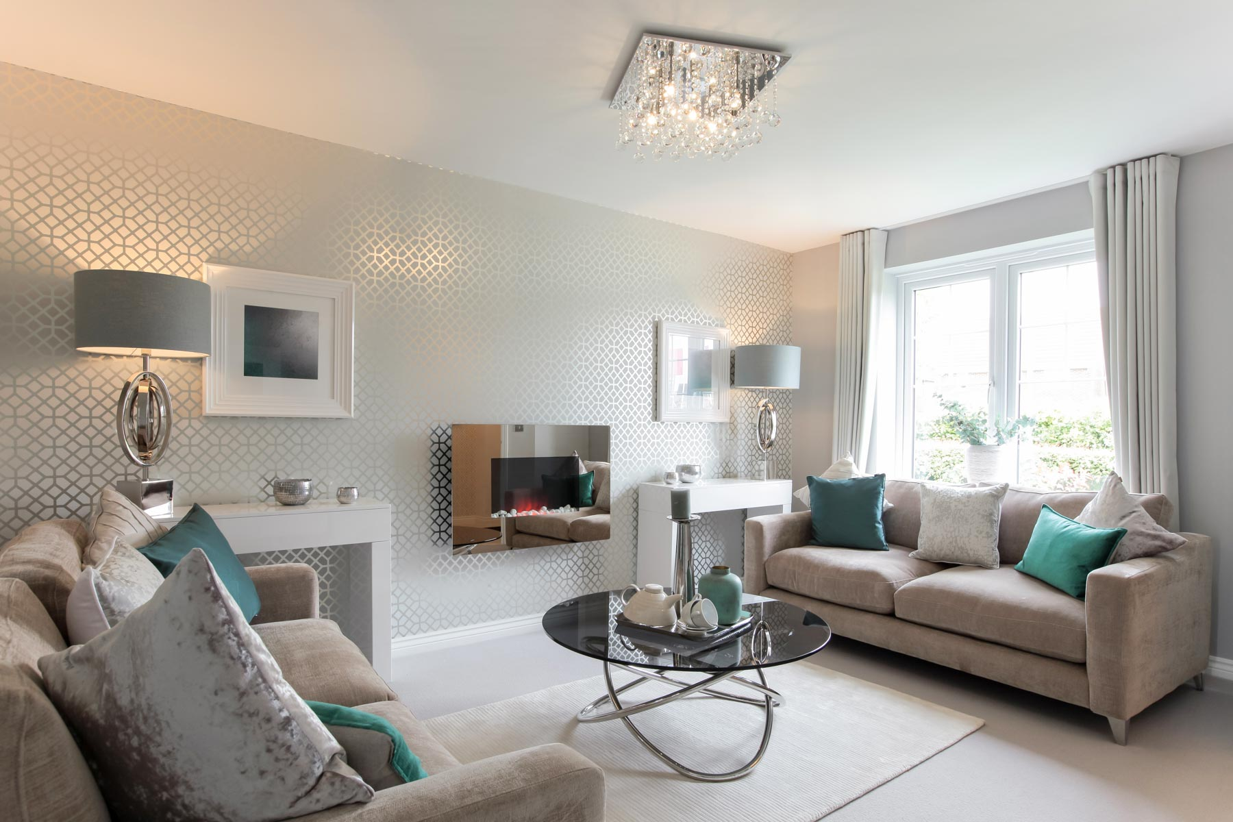 Sadlers view taylor wimpey for Show home living room ideas