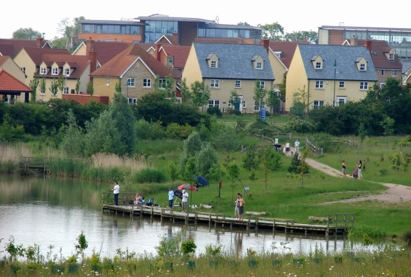 Cambourne pond and natural landscaping