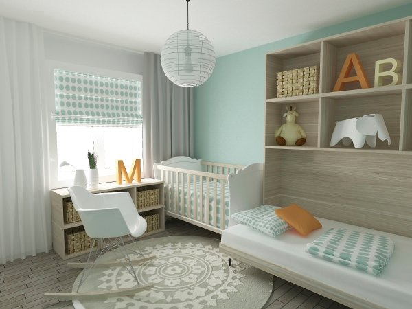 Grey nursery with Bookshelf