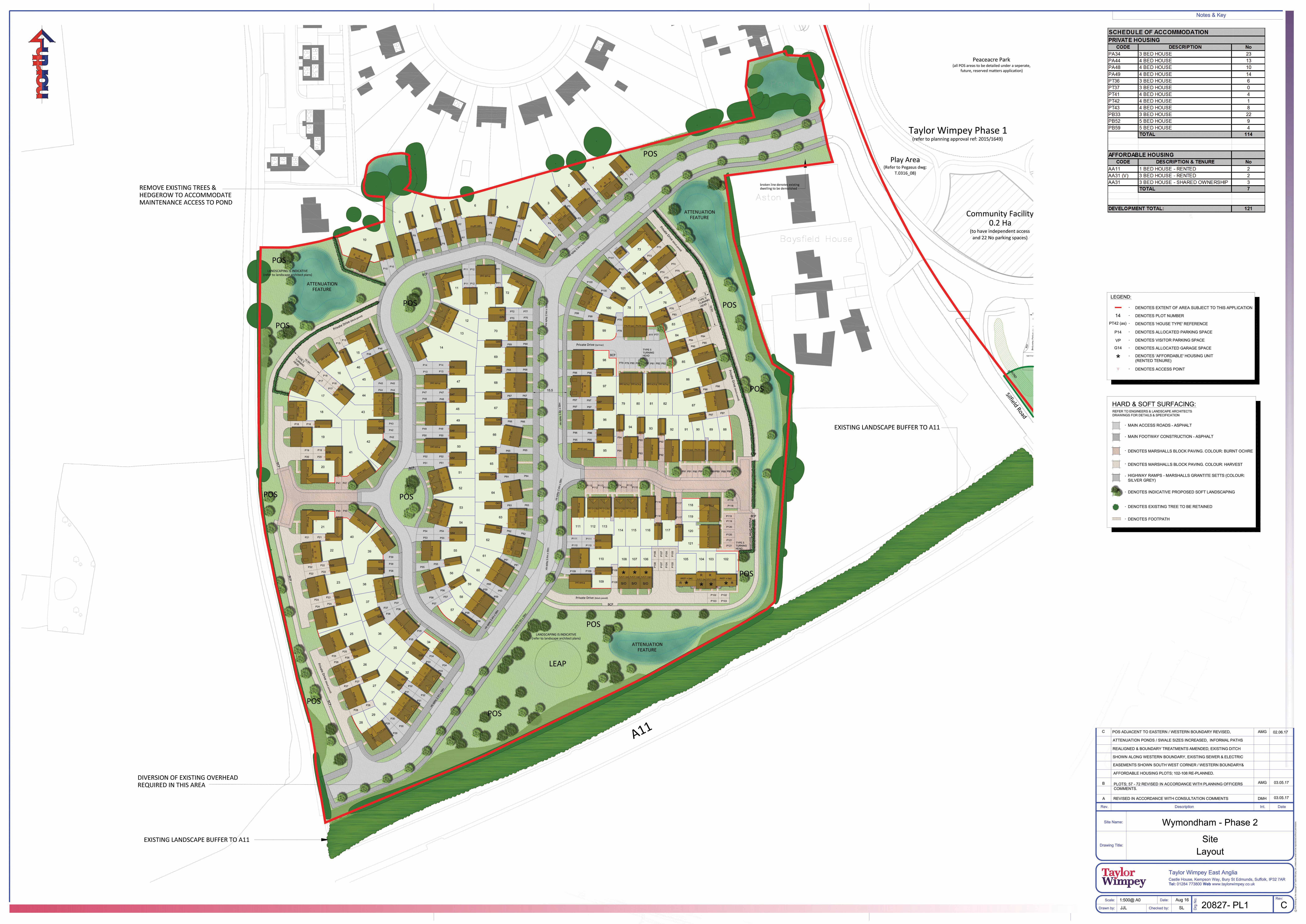 20827  Wymondham Ph2  Planning Layout C  colour0001
