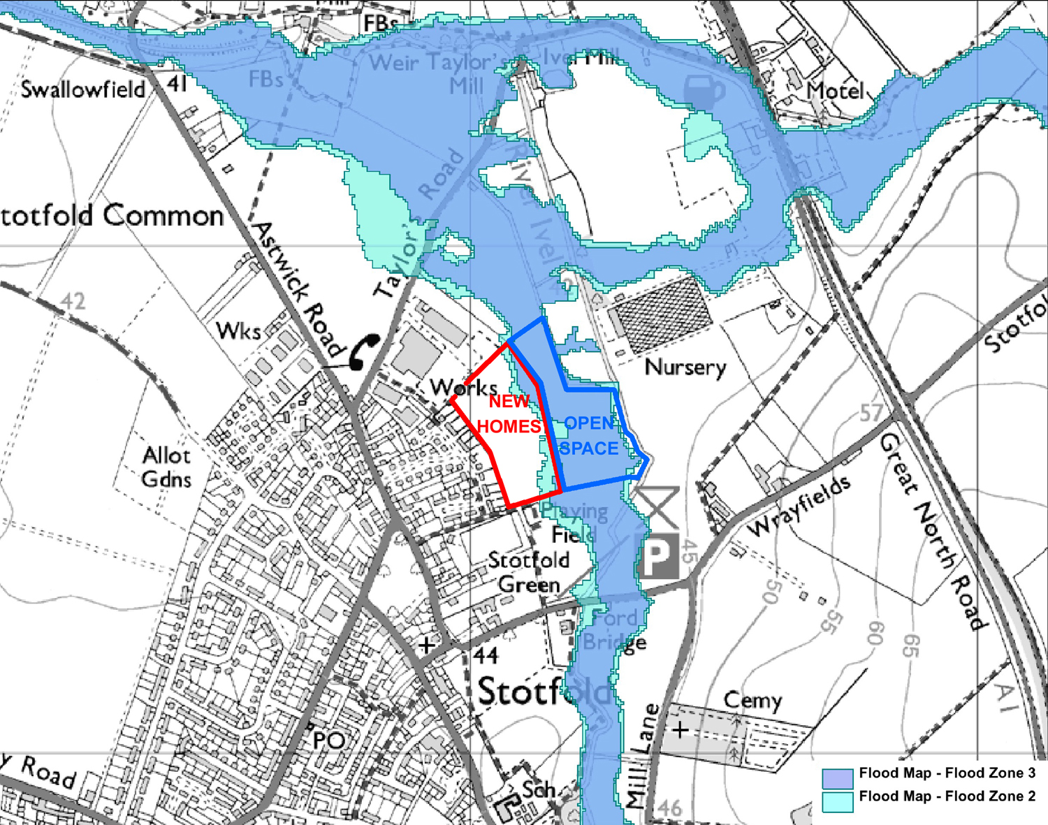 Stotfold Flood Map