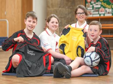 WEB  Robert Adamson Lucy Slater Paige MayneWoods and Evan Smith with their new kits courtesy of Tayl