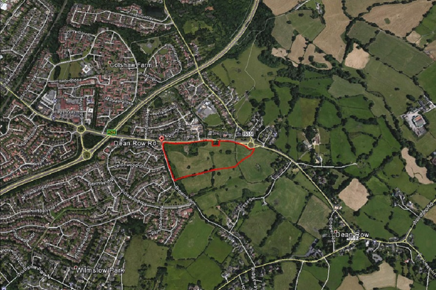 Heathfield Farm Wilmslow red edge of proposed development with surrounding area