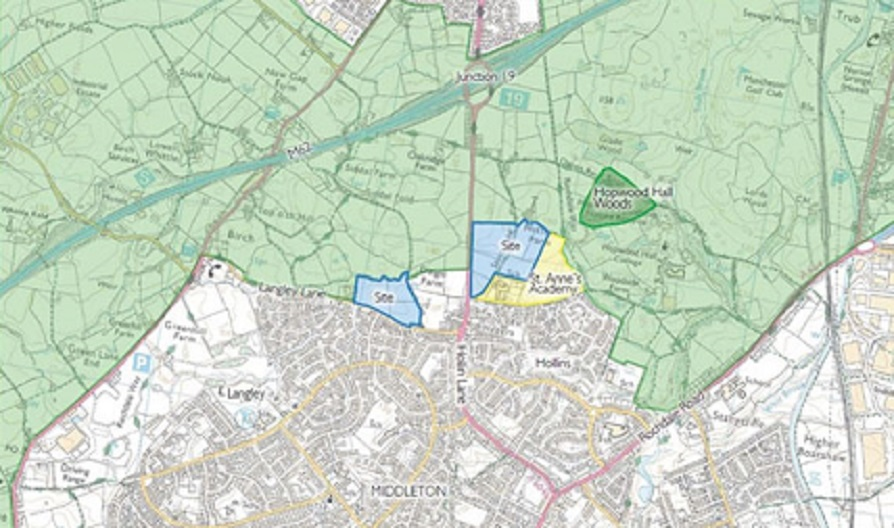 Hollin Lane & Langley Lane map