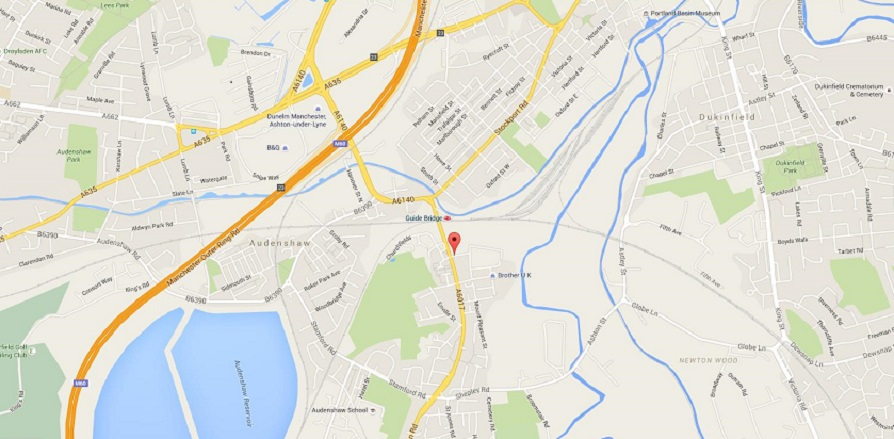 Map showing location of Martin Street Audenshaw
