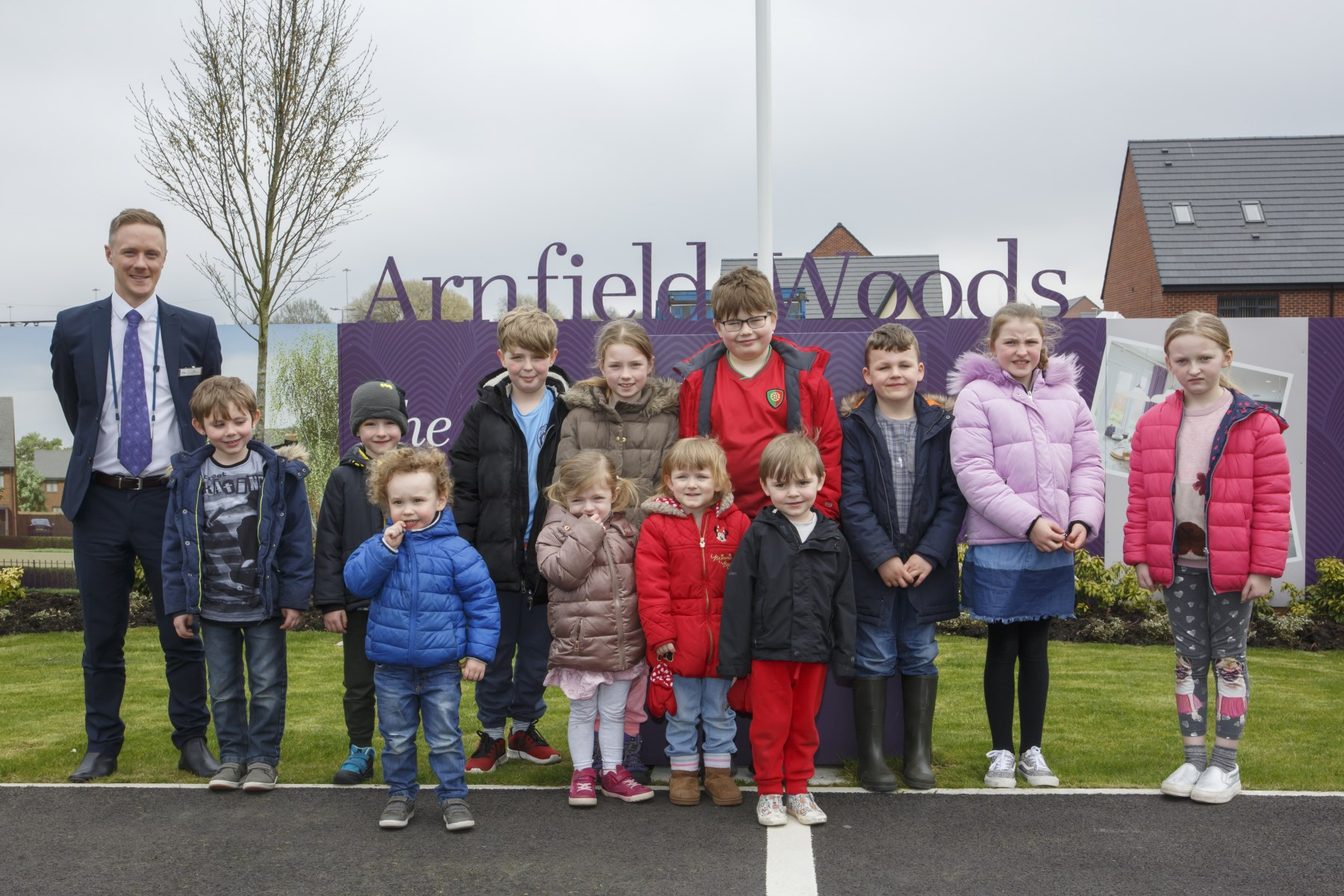 Children from the nursery and out of school club were invited to the Arnfield Woods development to d