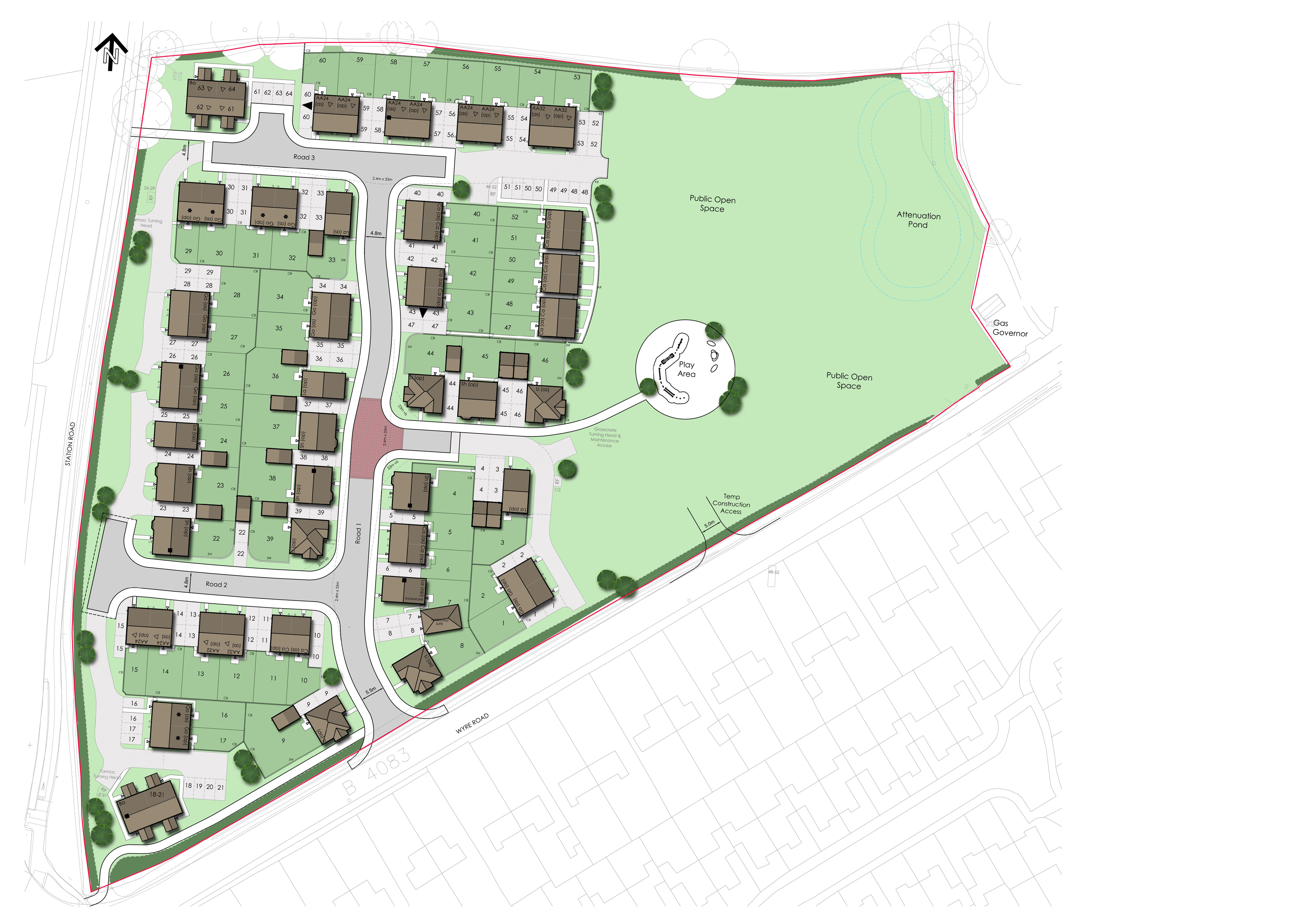 20131 Pershore Layout Coloured 64 units
