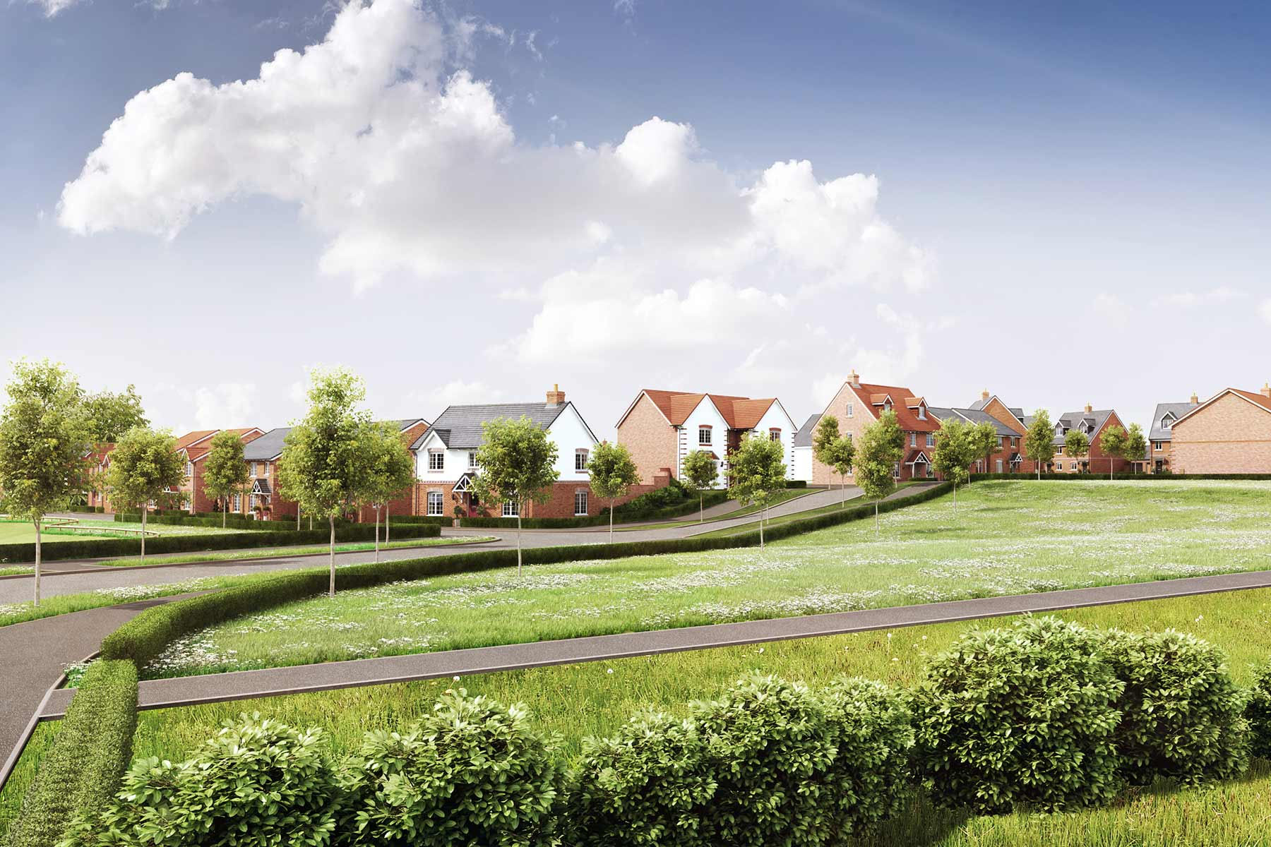 Flynig Fields - Streetscene - Main Street and Rural Edge - Plots 1 and 43