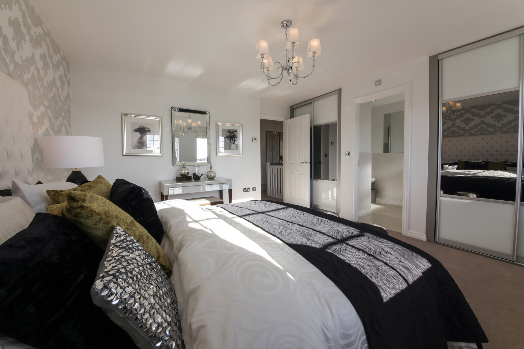 Lavenham bedroom with wardrobes and ensuite in view