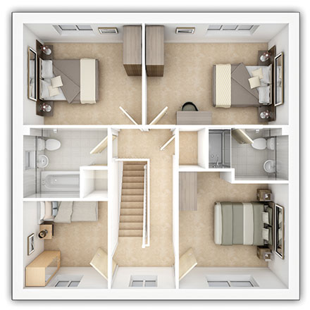 Taylor Wimpey - The Downham - 4 bedroom first floor plan
