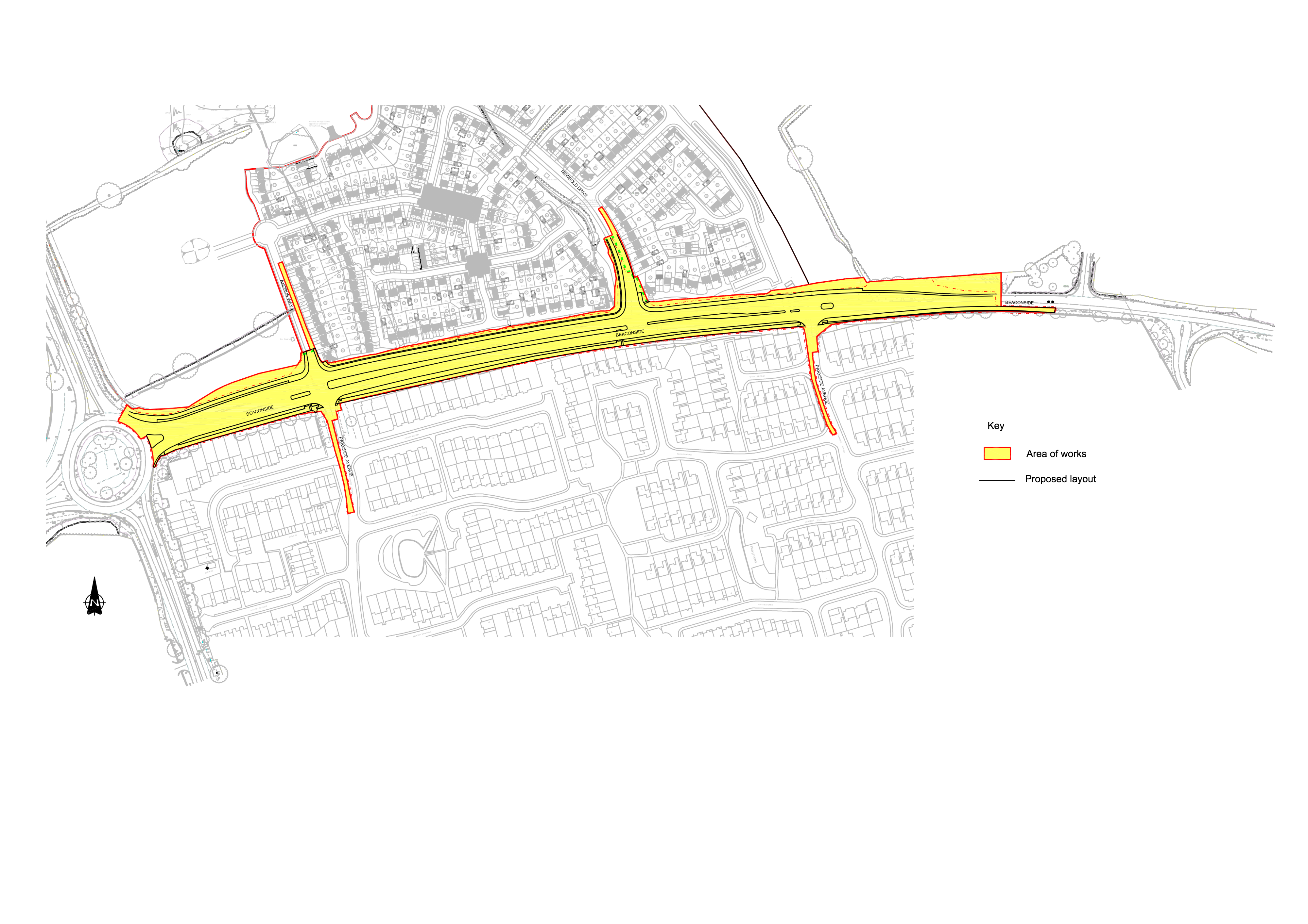 Marston Grange - Road Improvements - Extent of Works
