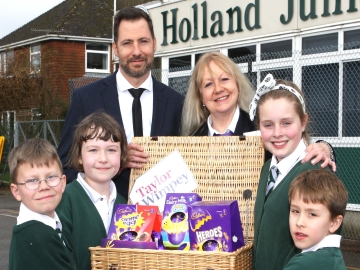 Taylor Wimpey  Easter hamper donation to the Holland Junior School 1web