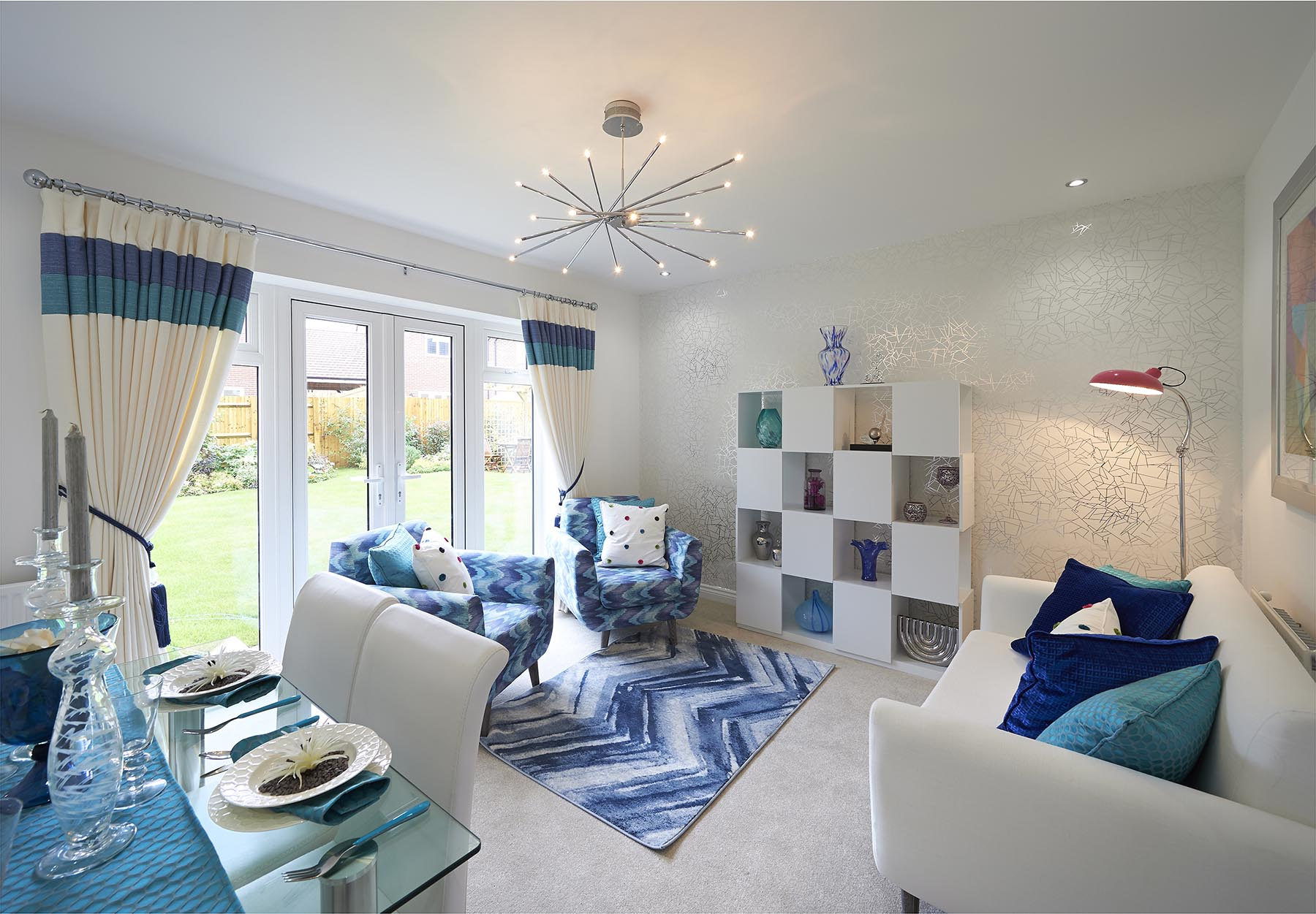 A typical Taylor Wimpey living/dining room with double doors