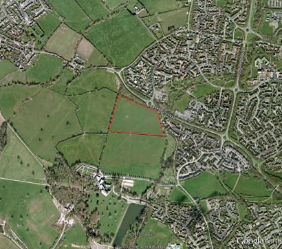 Lydiard Tregoze aerial view red line 410