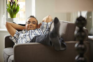 Relaxed man on sofa
