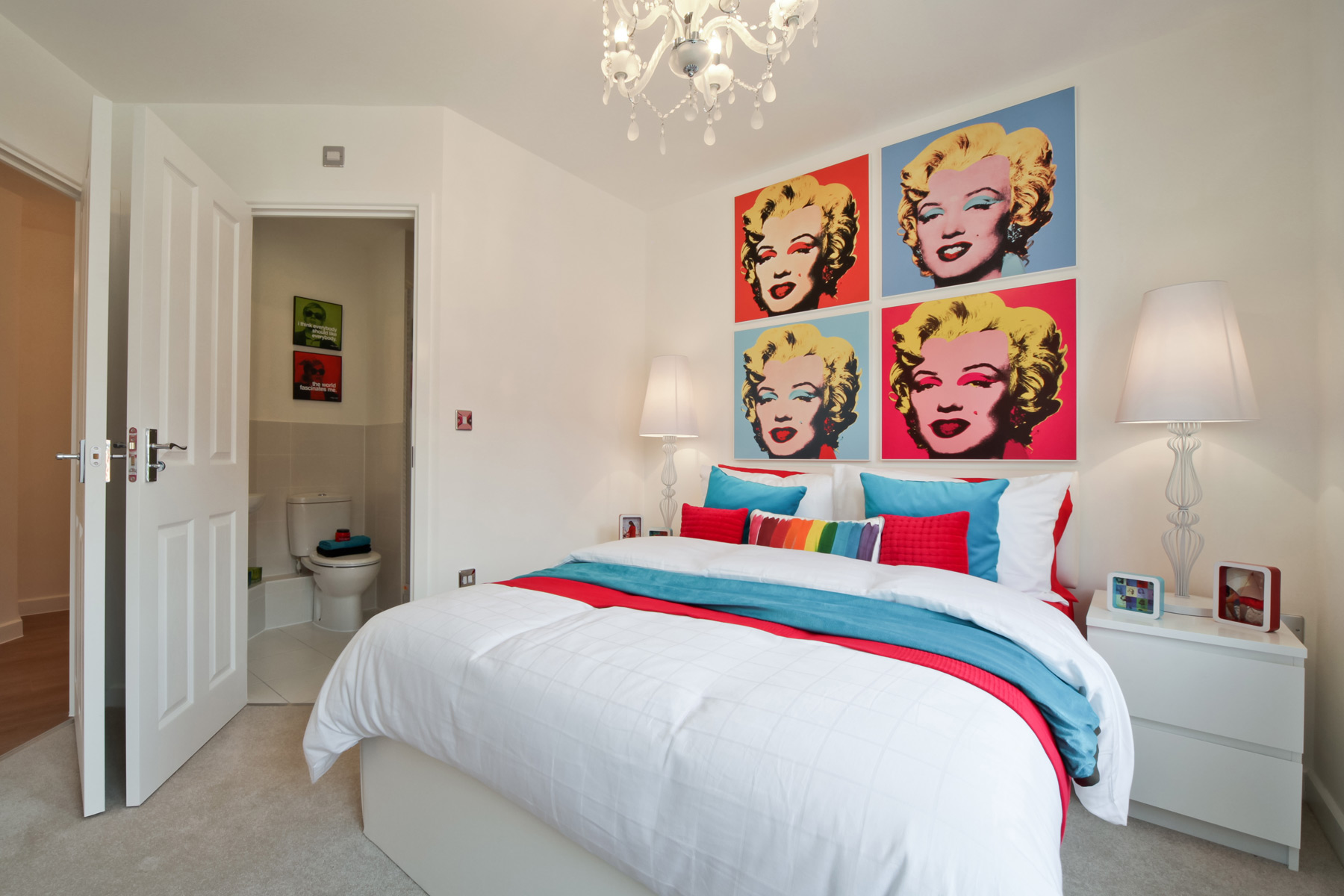 Typical Taylor Wimpey apartment en suite bedroom.