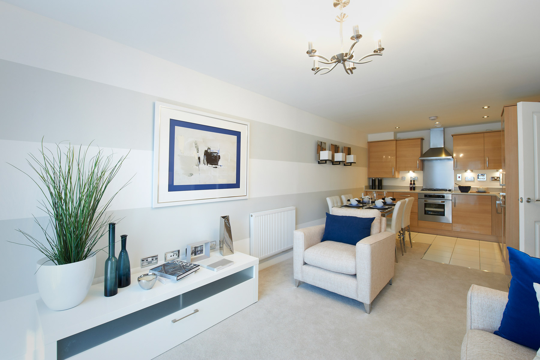 A typical Taylor Wimpey apartment kitchen/living room.