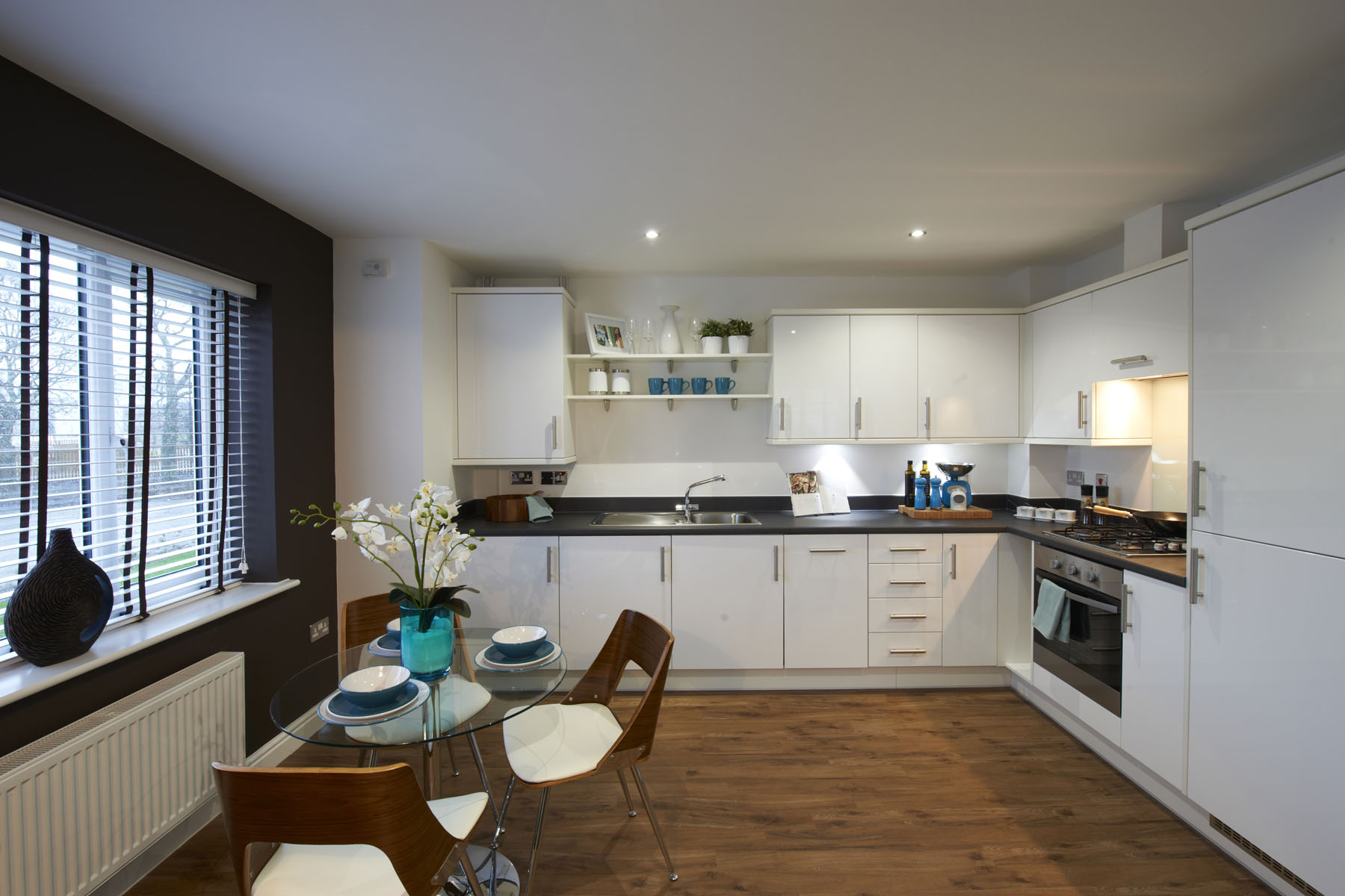 A typical Taylor Wimpey apartment kitchen/dining area