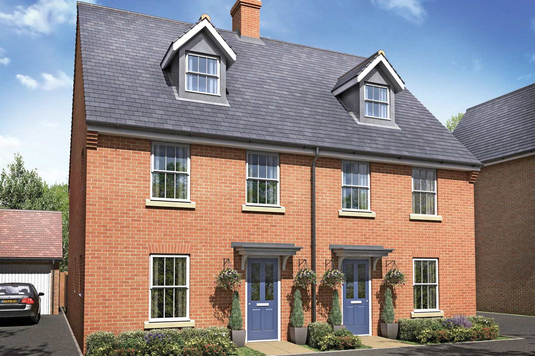 Exterior image of typical Easton homes at Bramble Walk